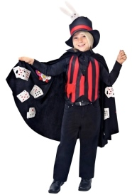 Child. Magician's costume with rabbit on hat and cards pocketed on underside of cape. (Costumesfc.com)