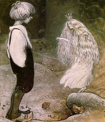 "Fairy Princess and little boy. A. Smedberg's"" Wishes from 'Among pixies and trolls' ""/ artist J Bauer Snaevar /US PD: reprod of PD art, expired copyright, artist life+70/Commons.wikimedia.org)"