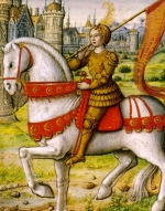 Joan of Arc on horseback. 1505 manuscript. (USPD. pub.date, artist life/Commons.wikimedia.org)