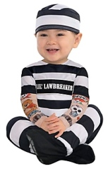 Baby in Halloween costume.Little law breaker costume. (Party City.com)
