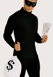 Robber or thief carrying a bag of money.costume from Party City.com