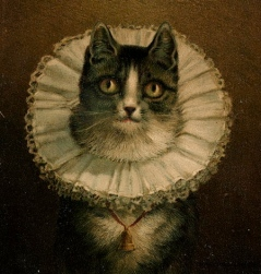 """Portait of cat with queenly ruffle. . Painting """"The Widow. 1861-1897 by Dielman,1847-1935. Boston Lib./USPD:pub.date, reprod of PD art/Commons.wikimedia.org)"""