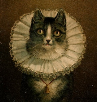 """Portait of cat with queenly ruffle. . Painting """"The Widow. 1861-1897 by Dielman,1847-1935. Boston Lib./USP:pub.date, reprod of PD art/Commons.wikimedia.org)"""