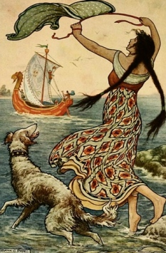 Woman on shore waving at a sailboat. 1916. Frank Pape-ill./USPD.pub-date/commons.wikimedia.org)