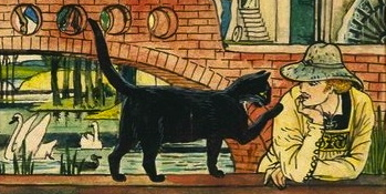 Cat talking to man on bridge.. Puss in Boots. Walter Crane (1845-1915) USPD.reprod.of pd art, artist life/ Commons.wikimedia.org)