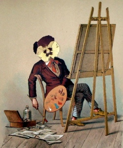 """Pansy-headed artist with easel.1876. """"Viola Tricolor in picture and rhyme"""" by Count Franz Graf Pocci (USPD:pub.date, artist life/Commons.wikimedia.org)"""
