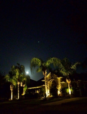 Big bright Super Moon over house with decorative lighting and palms ALL rights reserved. NO permissions granted. Copyrighted