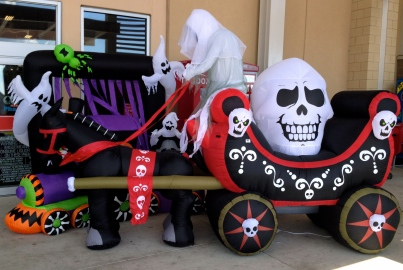 Giant inflated Dia de los muertos yard decorations with carriage, ghosts, and skulls ALL rights reserved. Copyrighted. NO permissions granted