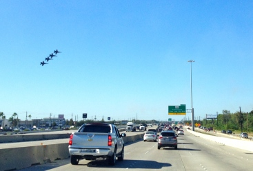 Blue Angels jets in formation over the Gulf Fwy. ALL rights reserved. NO permissions granted. Copyrighted