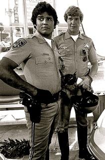 "2 motorcycle cops. Erik Estrada (Ponch Poncherello) and Larry Wilcox in NBC series ""Chips"".pre-1978. USPD.pub.date, no cr./commons.wikimedia.org)"