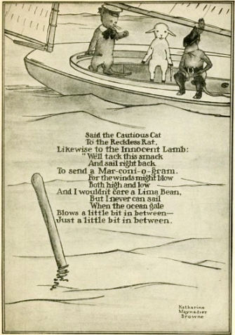 3 animals in a sail boat. Poem page from 1912 Bookshelf for Boys and-Girls by University Society NY (USPD: pub.date, artist's life/Commons.wikimedia.org)