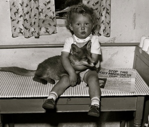 Little Girl sitting with fox on a kitchen table. (1959 National Lib of Wales. Geoff Charles/Universal PD/Commons.wikimedia.org)