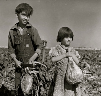 farm children in a field. 1940 (USPD: Dept of Ag./Commons.wikimedia.org)