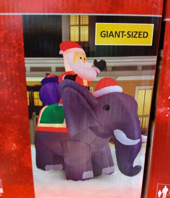 Christmas inflatable decoration from Home Depot. Santa on giant elephant. All rights reserved. Copyrighted. NO permissions granted.
