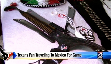 Costume accessories of Oved Carranza. Texans NFL Superfan wardrobe. (screenshot.click2houston.com)