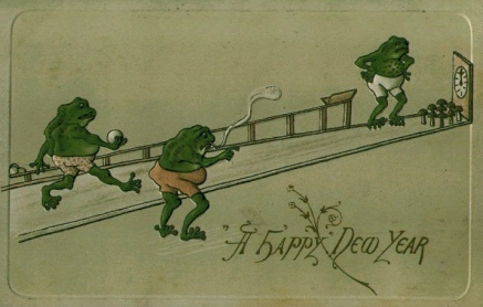 Frogs. 1908 postcard of frogs in shorts bowling (USPD: pub. date, copy r.expired/Commons.wikimedia.org)