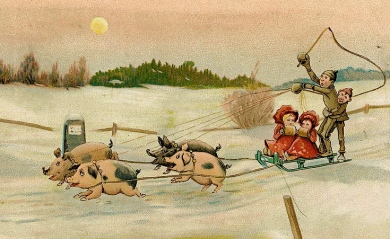 Pigs pulling kids on sled. Christmas postcard by Laerum,1890.(Nat.lib.of Norway/flickr/PD/Commons.wikimedia.org)