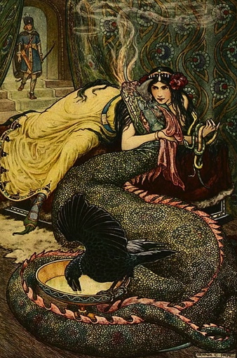 Fire breathing dragon on couch with Oriental lady. (Russian story book by Wilson with ill.Pape (PD: pub.date, artist life/Commons.wikimedia.org/gutenberg.org)