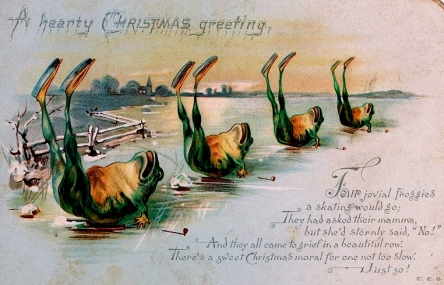 Ice skating frogs on Victorian Christmas card. Nova Scotia archives/flickr/pd/Commons.wikimedia.org)