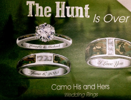 Camo wedding rings. (Image in advertisement. Parade Magazine)