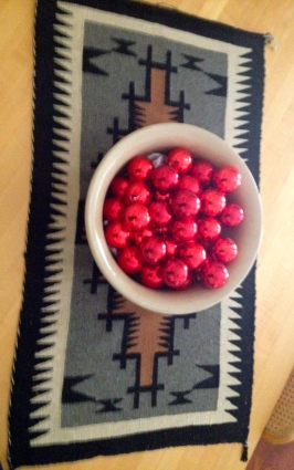 Off the wall: Two Grey Hills Navaho rug and ornaments. ALL rights reserved, copyrighted, NO permissions granted