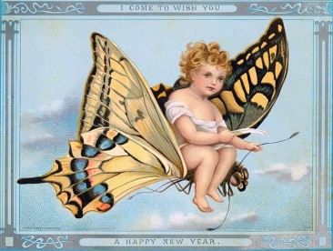 Butterfly clying with Infant New Year on its' back. Victorian card. (Nova Scotia archives./ PD/commons.wikimedia.org)