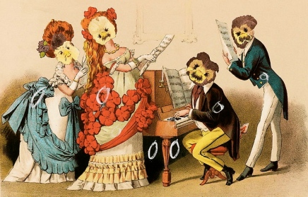 People in flower faces at a piano. (1876. Count Franz Pocci's Viola Tri Color.(USPD.pub.date/Commons.wikimedia.org)