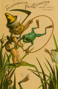 Baby New Year holding hoop as frogs jump through. 1880s trade card from Lib Company of Philadelphia /USPD: pub.date, no cr./Commons.wikimedia.org)