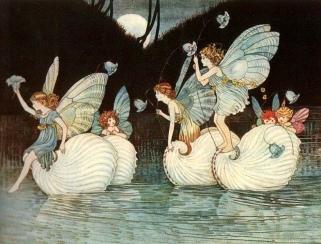 Fairies on boats. Fairies. Fairy Islands tale from Evles and Fairies. 1916 Ida R. Outhwaite. USPD. pub.date, artist life/Commons.wikimedia.org.)