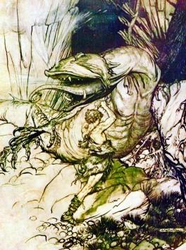 Dragon and Dragon slayer. Siegfried slays Fafner. 1911 (USPD.artist life, pub.date/Commons.wikimedia.org)