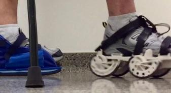 Regular shoe and GEMS rehab shoe on foot. (Image Moterum website)