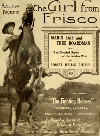 Cowgirl on rearing horse. Vintage movie poster. (USPD: pub.date, artist life/Commons.wikimedia.org)