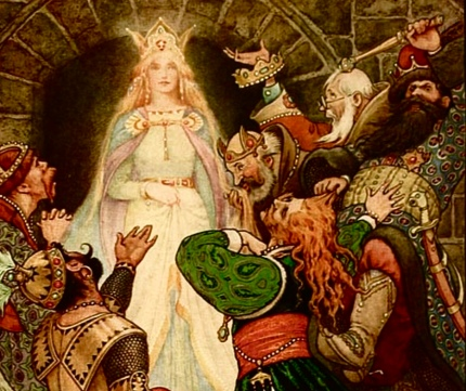 Fairy Queen among adoring subjects. 1916 Russian Story Book by R. Wilson, Illiustrated by Frank C. Pape/ USPD. pub.date/gutenberg project/Commons.wikimedia.org)