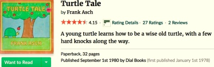 Turtle. Cover of Frank Asch book Turtle Tale (Image Goodreads.com)