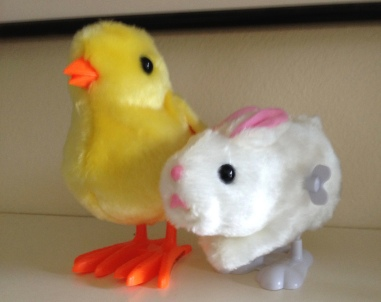 Bunny and chick Easter wind up toys. ALL rights reserved. Copyrighted. NO permissions granted