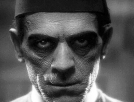 Scary man's face. Boris Karloff The Mummy .The Mummy. Universal Studio (USPD: pub.date.1932 )Commons.wikimedia.org