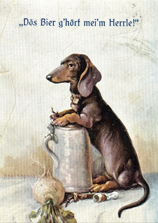 "postcard. 1917. Loyal Dog guarding beer stein. ""This beer belongs to my master"" USPD.pub.date/Commons.wikimedia.oerg)"