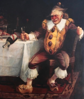 Drunk clown holding wine glass while seated at table. 1862 by Faverot (USPD Pub. date, reprod of PD art, artist life/Commons.wikimedia.org)