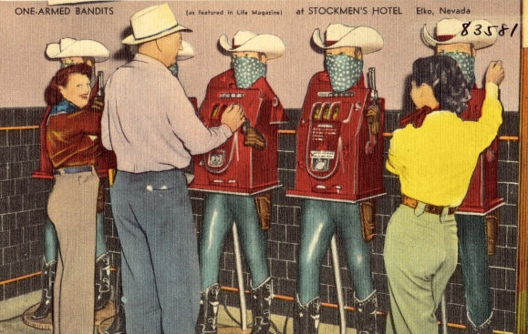 Postcard of Women and man in western wear gambling with One-armed bandits. Stockmen's Hotel, Elko Nevadsa, ( Seaich Co. (Boston Pub.Lib Tichnor Bro. Collection/USPD pub.date. artist life/Commons.wikimedia.org)