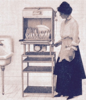 Woman examining dishes in an electric dishwashing machine, 1917. US product copyright before 1923. Keith's Magazine (USPD. pub. date/Commons.wikimedia.org)