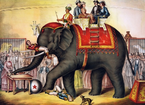 Vintage poster of circus elephant. Chromolithograph of performing elephant, 1874. GIbson & Co./LoC (USPD.pub.date/Commons.wikimedia.org)