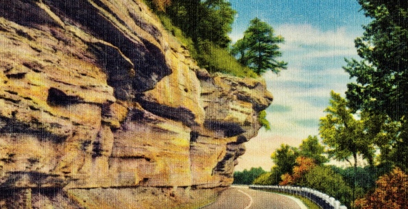 Postcard.1945. US Hwy 71. Prize Drive of the Ozarks. Ozark Postcard Publishers/Boston Lib. Tichnoir Bro.collection/USPD. Pub.date, artist life/Commons,wikimedia.org)