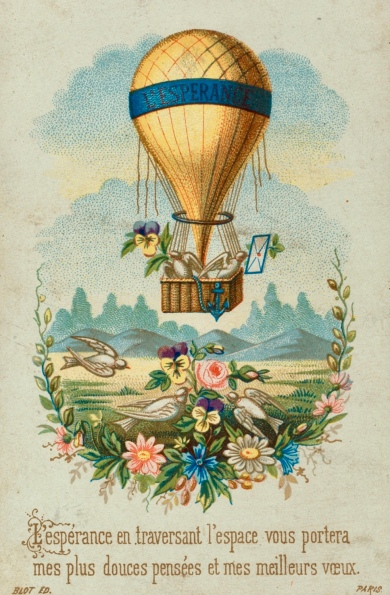 Hot air balloon Sentimental collecting card. 1860's-1900. LoC (USPD.pub.date/commons.wikimedia.org)