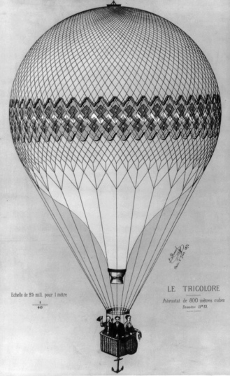 Men and woman in elegant hot air balloon with whicker basket and anchor. 1874. LoC (USPD.pub date/Commons.wikimedia.org)