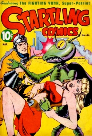 Space detective saving girl from giant bug. March 1947 cover art by Grahman Ingels/Startling Comics (USPD.CR not renewed. Artist life/Commons.wikimedia.org)