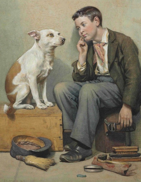 Boy and dog staring at each other. Dreamers, 1899. John Brown. (USPD.pub.date, artist life/Commons.wikimedia.org)