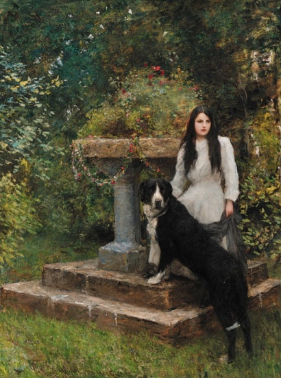 Young girl and dog in garden. Hubert von Herkomer.1910 (USPD. artist life, pub.date/Commons.wikimedia.org)