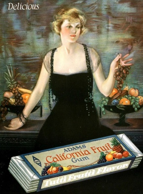 Vintage Woman holding fruit. Adams CA. Fruit Gum ad by Neysa McMein (USPD.pub.date, artist life/Commons.wikimedia.org)