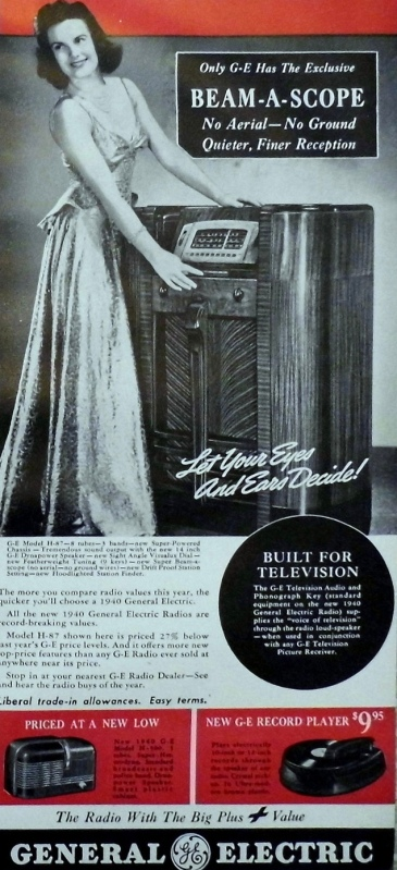 Woman in evening gown standing next to a floor model radio in a wordy 1940 GE radio ad. (Joe Haupt/Commons.wikmedia.org)