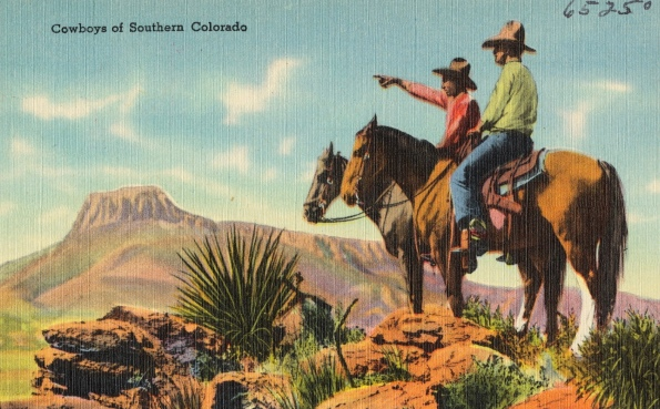 Vintage postcard. Cowboys on horses pointing at mesa. Southern Colorado postcard. (Boston Pub.lib/Commons.wikimedia.org)